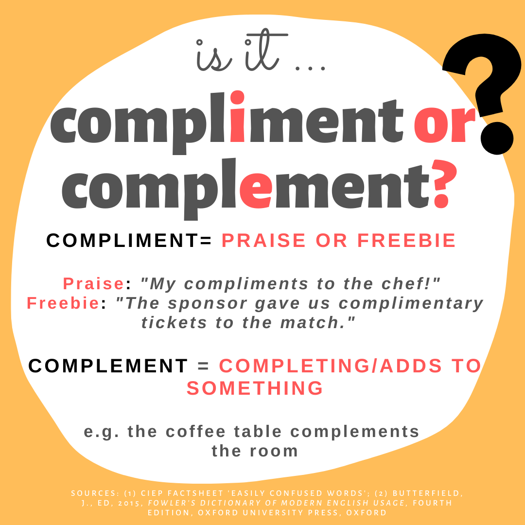 Is it COMPLIMENT or COMPLEMENT?  COMPLIMENT (with an I) means 'praise' (e.g., 'My compliments to the chef') or a freebie (e.g., 'The sponsor gave us complimentary tickets').  COMPLEMENT (with an E) means  something completes or adds to something e.g., the coffee table complements the room.
